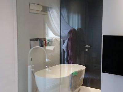 Salle de bain moderne avec cloison vitré.